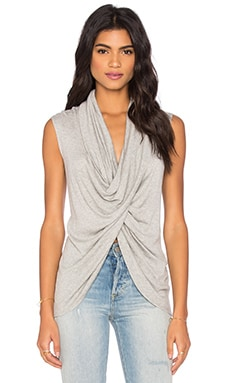 Sleeveless Cross Over Top in Light Heather Grey