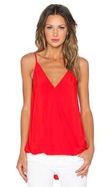 Fifteen Twenty Spaghetti Strap Drape Top in Poppy