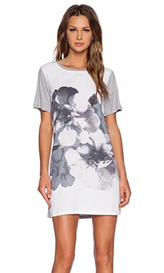 The Fifth Label Across the River T-Shirt Dress in White Floral & Light Grey