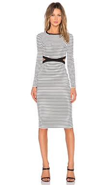 The Fifth Label Bitter Life Long Sleeve Dress in White & Black Stripe