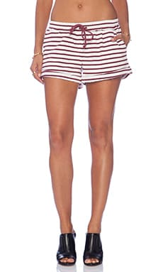 The Fifth Label Dark Paradise Short in Ivory & Maroon Stripe