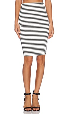 The Fifth Label I'm Waiting Here Skirt in White & Black Stripe