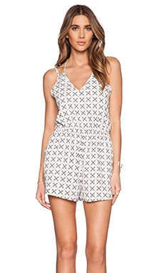The Fifth Label All You're Waiting For Playsuit in White Geo Print