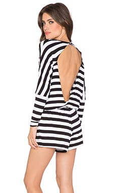 The Fifth Label Day's Ending Long Sleeve Playsuit in Black & White Thick Stripe