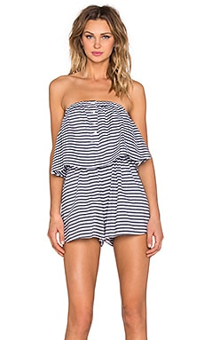 The Fifth Label Familiar Stranger Romper in Charcoal & White Stripe