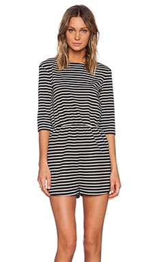 The Fifth Label Front Seat Long Sleeve Playsuit in Black & White Stripe