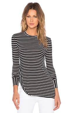 The Fifth Label The Standard Long Sleeve Top in Black & White Stripe