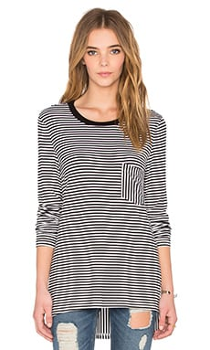 Gardenia Long Sleeve Top in White & Black Stripe