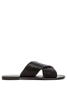 MAKE YOU JUMP SLIDE COW HAIR SANDAL