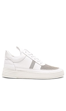 Filling Pieces Stripe Perforated Low Top in White