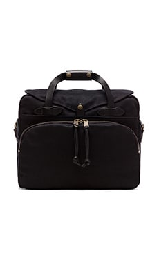 The Black Collection Twill Padded Laptop Briefcase in Black