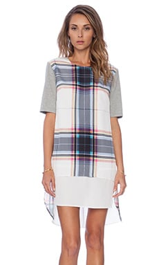 Finders Keepers Super Power Tshirt Plaid Dress in Tartan White