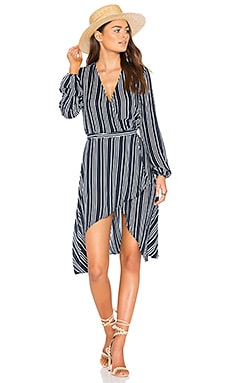 Ira Wrap Dress in Navy Stripe