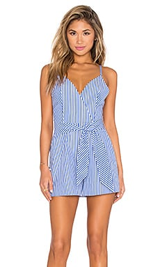 Finders Keepers Blow Your Mind Romper in Blue Stripe