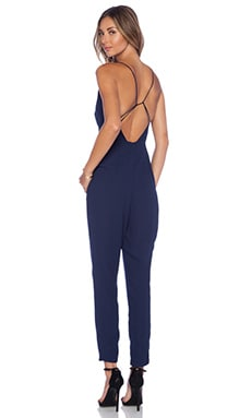 Finders Keepers All Time High Cut Out Back Jumpsuit in Peacoat