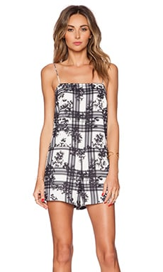 Finders Keepers Crystal Air Playsuit in White Tartan Floral