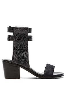 Finders Keepers Cuffed Cow hair Sandal in Black Pebble & Navy Pony