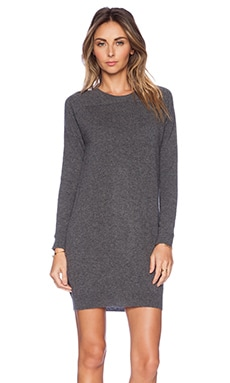 Fine Collection Crew Neck Sweater Dress in Heather Anthracite