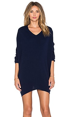 Fine Collection V Neck Sweater Dress in Navy