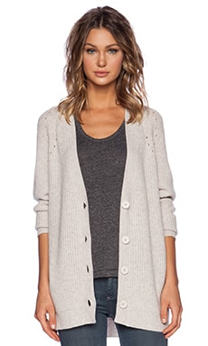Fine Collection V Neck Cardigan in Heather Beige