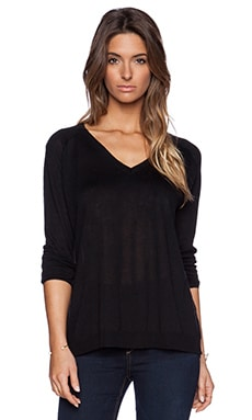 Fine Collection Slouchy V Neck Sweater in Black