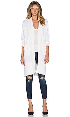 Fine Collection Front Pocket Long Cardigan in Ivory