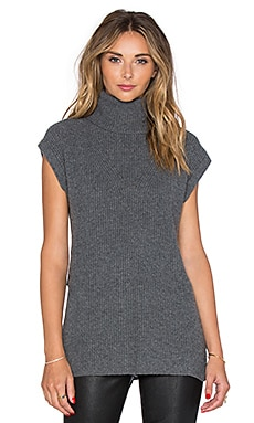 Fine Collection Turtleneck Sleeveless Sweater in Heather Anthracite