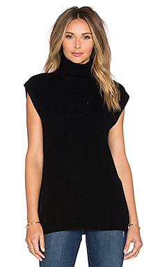 Fine Collection Turtleneck Short Sleeve Sweater in Black