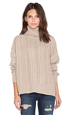 Fine Collection Turtleneck Sweater in Heather Beige