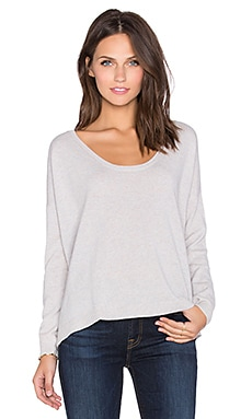 Fine Collection Scoop Neck Sweater in Heather Dust