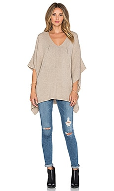 Fine Collection V Neck Cape in Heather Beige