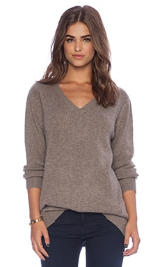 Fine Collection V Neck Sweater in Heather Ashes