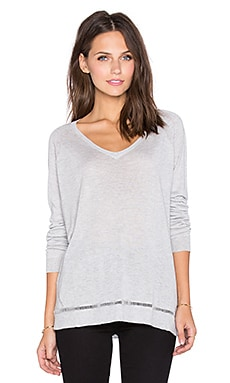Fine Collection V Neck Sweater in Heather Grey