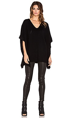 Fine Collection V Neck Cape in Black