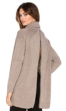 Fine Collection Zip Back Turtleneck Sweater in Heather Ashes