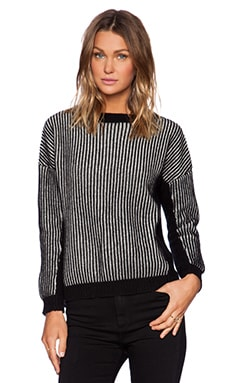 Fine Collection Vertical Striped Sweater in Black & Ivory