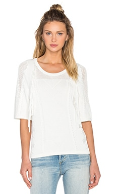 Fine Collection Fringe Short Sleeve Sweater in Ivory
