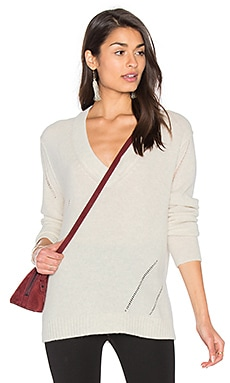 Fine Collection Candice V Neck Sweater in Ivory Heather