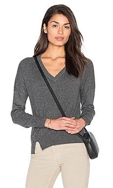 Fine Collection Sonia V Neck Sweater in Heather Anthracite