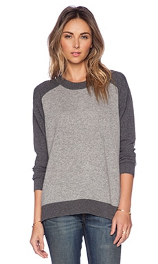Fine Collection Colorblocked Sweater in Heather Grey & Heather Anthracite