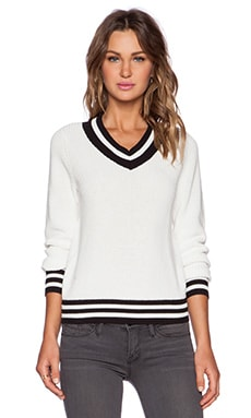 First Base V Neck Team Sweater in Ivory & Black