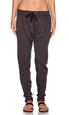 First Base Drop Crotch Trackie Pants in Washed Black