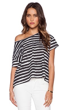 First Base Off the Shoulder Tee in Jail Stripe