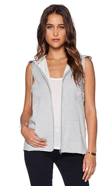 First Base Sleeveless Track Hoodie in Grey Marle