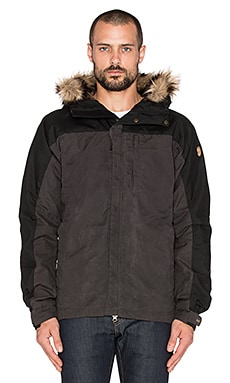 Fjallraven Singi Loft Jacket with Faux Fur Lining in Dark Grey & Black