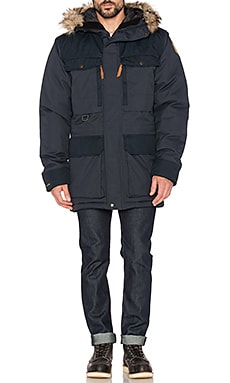 Fjallraven Polar Guide Parka with Faux Fur Lining in Dark Navy