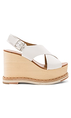 Trendy Wedge in Vacchetta Off White