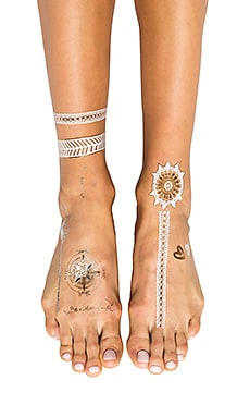 FLASH Tattoos Wanderlust Tattoo in Gold & Silver