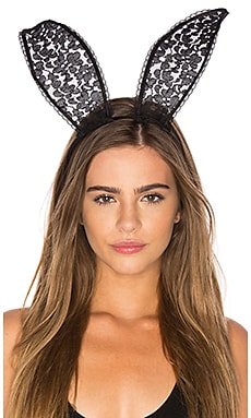 Lace Bunny Ears in Black