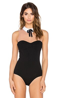fleur du mal x PLAYBOY Collar Bodysuit in Black